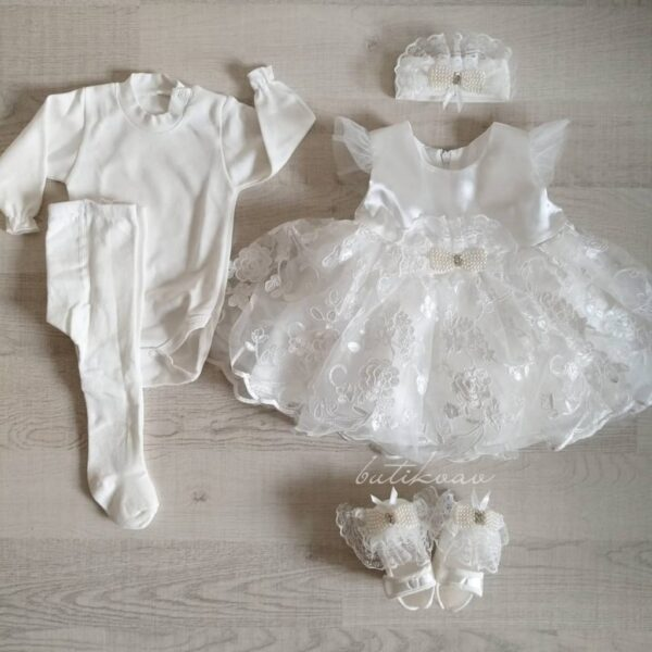 İncili prenses elbise 0 6 ay 05 600x600 - İncili prenses elbise 5'li mevlit seti 0-6 ay