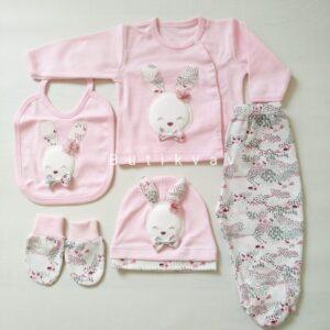 Gaye Bebe Kız Bebek 5li Hastane Çıkışı 01 300x300 - Gaye Bebe Tavşan Süslemeli Kız Bebek 5'li Hastane Çıkışı