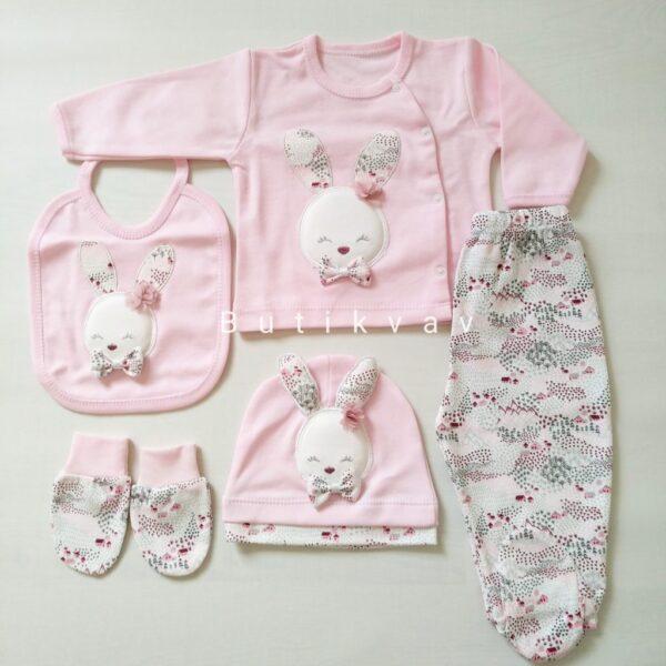 Gaye Bebe Kız Bebek 5li Hastane Çıkışı 01 600x600 - Gaye Bebe Tavşan Süslemeli Kız Bebek 5'li Hastane Çıkışı