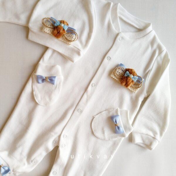 Erkek Bebek Kral Taç Süslemeli Hastane Çıkışı 1 3 ay 01 600x600 - Sevimli Ayıcık Süslemeli Yenidoğan Hastane Çıkışı 1-3 Ay