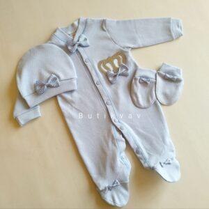 Erkek Bebek Kral Taç Süslemeli Hastane Çıkış Seti 03 300x300 - Erkek Bebek Kral Taç Süslemeli Hastane Çıkışı 1-3 ay