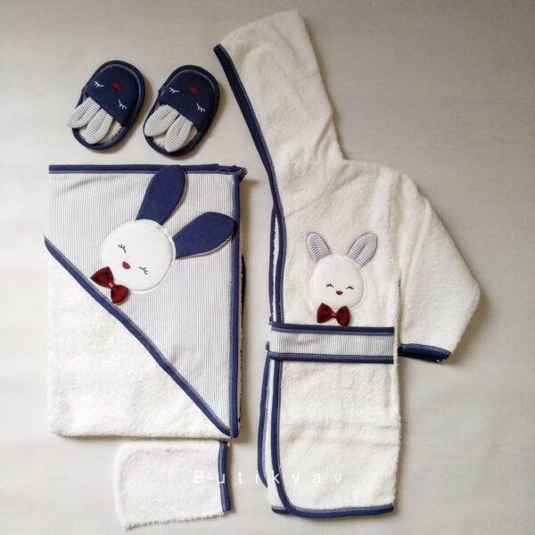 Gaye Bebe Erkek Bebek Tavşanlı Bornoz Seti mavi Kopya 01 600x600 - Gaye Bebe Erkek Bebek Tavşanlı Bornoz Seti - Lacivert