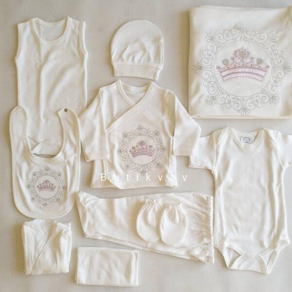 kiz bebek prenses tac suslemeli 10 lu hastane cikisi 02 600x600 - Kız Bebek Prenses Taç Süslemeli 10'lu Hastane Çıkışı