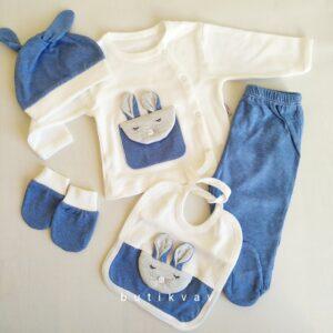 Gaye Bebe Erkek Bebek 5li Hastane Çıkışı 0 3 Ay 01 300x300 - Gaye Bebe Tavşan Cepli 5'li Hastane Çıkışı