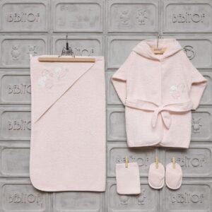 Bebitof Kız Bebek Ayıcık Nakışlı Bornoz Seti pembe 01 300x300 - Bebitof Kız Bebek Ayıcık Nakışlı Bornoz Seti - pembe