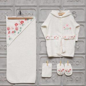 Bebitof Kız Bebek Dantelli Tavşan Bornoz Seti Krem Kopya 03 300x300 - Bebitof Kız Bebek Çiçek Baskılı Bornoz Seti