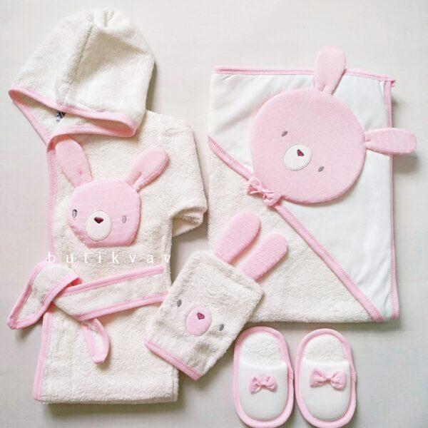 gaye bebe kiz bebek tavsan kulak bornoz seti kopya 01 600x600 - Gaye Bebe Kız Bebek Tavşan Kafa Bornoz Seti Pembe