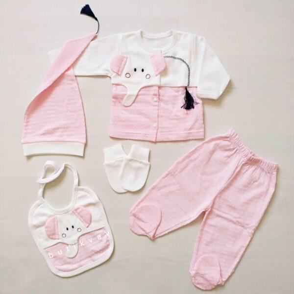 gaye bebe kuyruklu fil 5 li hastane cikisi zibin seti 01 600x600 - Gaye Bebe Kuyruklu Fil 5'li Hastane Çıkışı Zıbın Seti